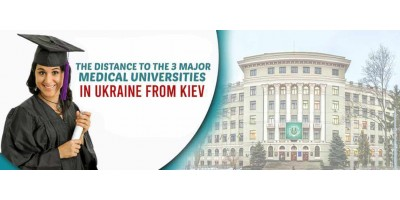 The Distance to the 3 Major Medical Universities in Ukraine from Kiev